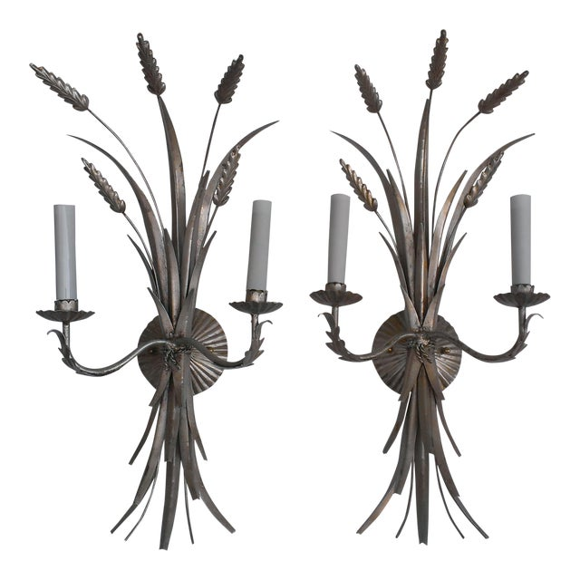 Mid 20th Century Italian Antique Silver Wheat Wall Sconces - a Pair - Image 1 of 9