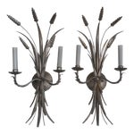 Image of Mid 20th Century Italian Antique Silver Wheat Wall Sconces - a Pair