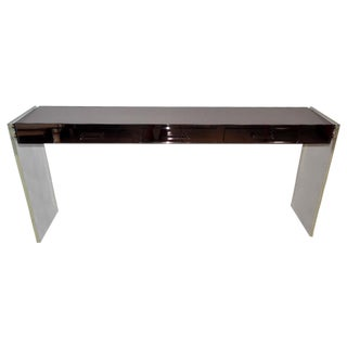 MCM Wood and Mirrored Lucite Console Table