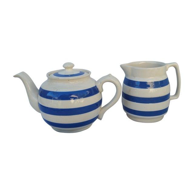 50's Cornish Stripe Pottery Tea Set - Image 1 of 5