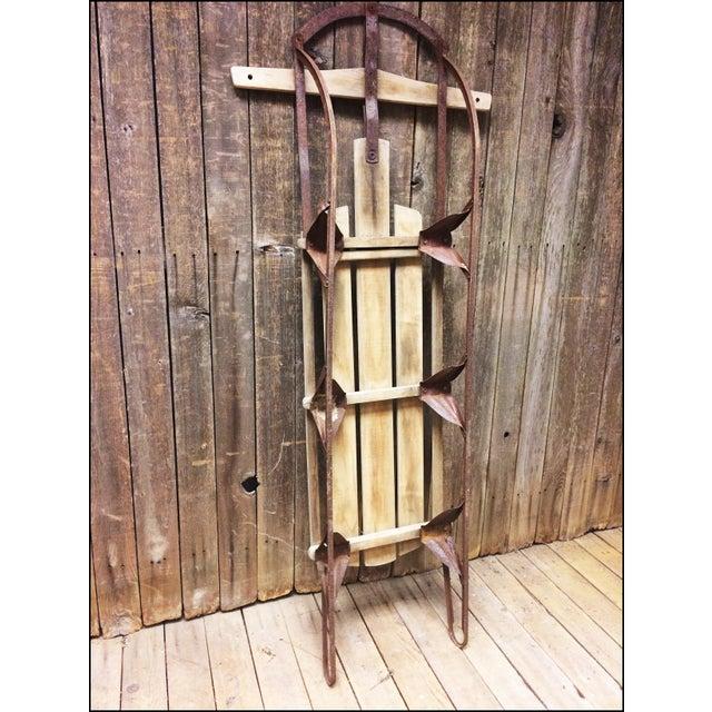Vintage Brown Weathered Wood & Metal Runner Sled - Image 7 of 11