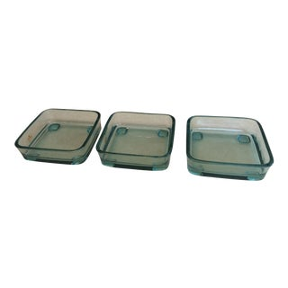 Blue Square Hors d'Oerve Dishes - Set of 3