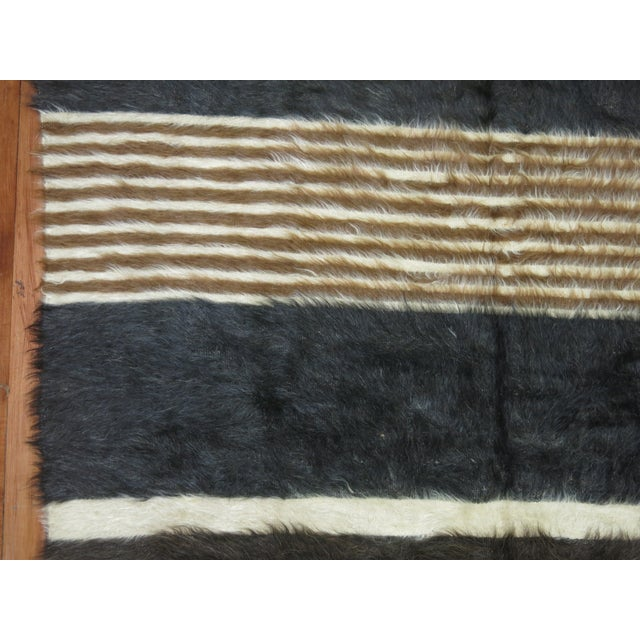 "Vintage Striped Mohair Rug / Throw - 4'4"" x 6' - Image 4 of 6"