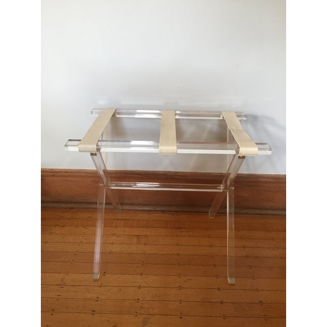 Scheibe Folding Lucite Luggage Rack With Tray - Image 3 of 7