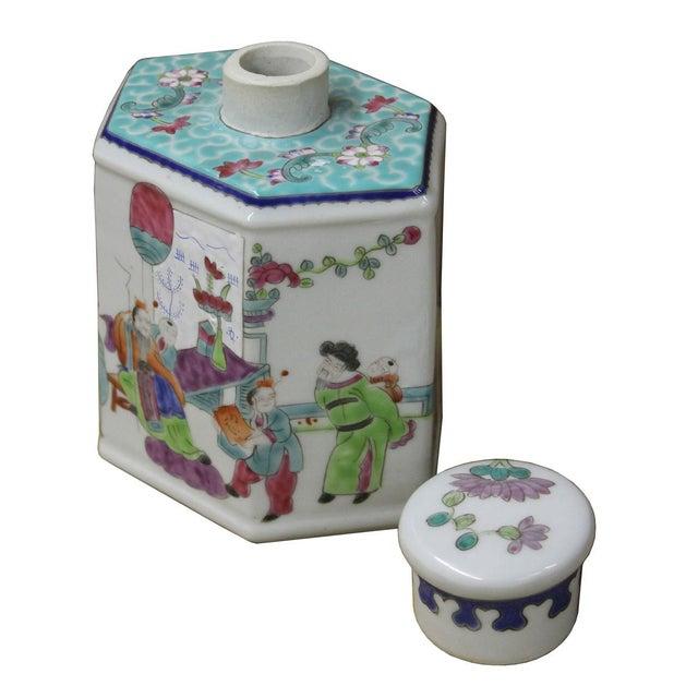 Chinese Family Harmony Porcelain Tea Jar - Image 5 of 5