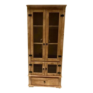 French Provincial Pine Wood Display Cabinet