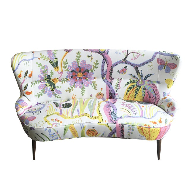 Image of Mid-Century French Settee in Swedish Fabric