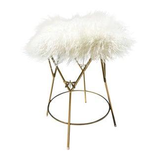 Vintage Faux Yak Fur Brass Base Vanity Stool