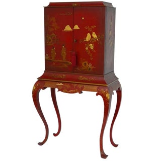 Japanned Chinoiserie Lacquer Cocktail Cabinet on Stand