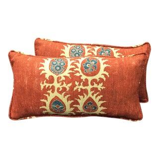 Carlton V Orange Lumbar Pillows - a Pair