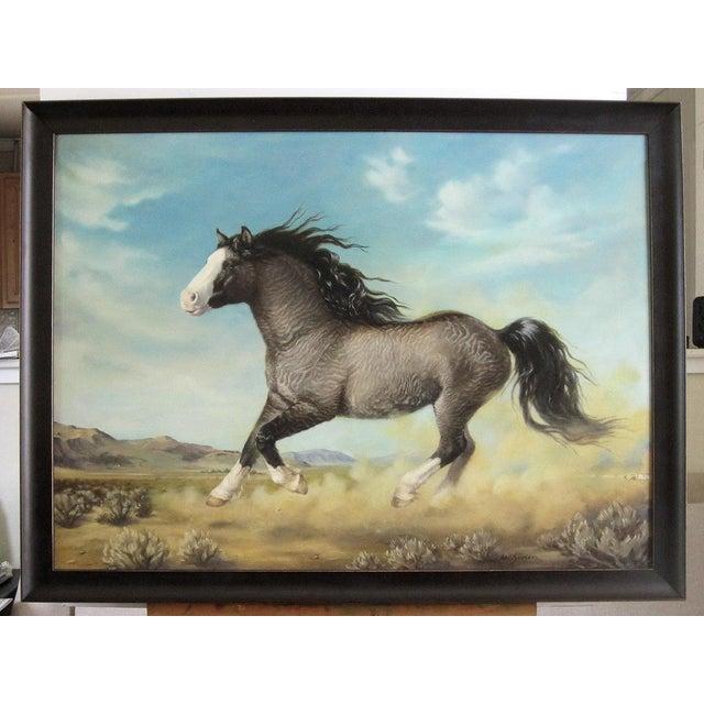 "Ute Simon ""Surprise"" American Bashkir Curly Horse Painting - Image 2 of 9"