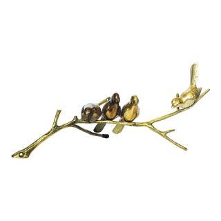 Vintage Brass Birds on Branch Sculpture