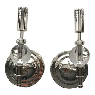 Polished Nickel & Glass Wall Sconces - A Pair