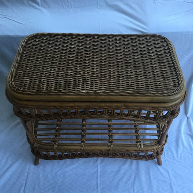 Coffee Table With Swivel: Vintage Wicker Swivel Top Coffee Table