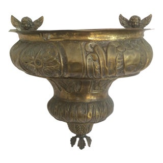 Antique Hanging Brass Repousse Container With Angels