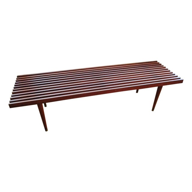 Danish modern teak slat bench coffee table chairish Modern teak coffee table