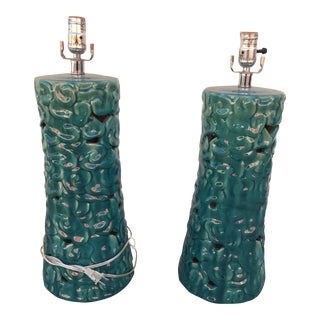 Turquoise Ceramic Table Lamps - A Pair