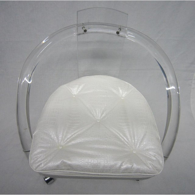 Vintage White Upholstery Lucite Chair - Image 3 of 7
