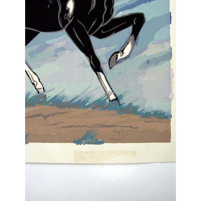 1970s Black & White Horse Serigraph - Image 3 of 3