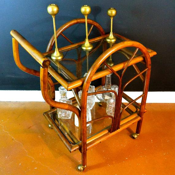 Hollywood Regency Rattan Rolling Drink Cart - Image 6 of 6