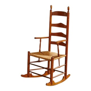 Early American Ladder Back Rocking Chair with Rush Seat, circa 1760
