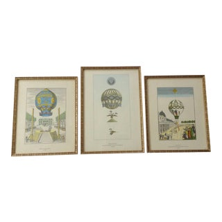 French Hot Air Balloon Prints - Set of 3