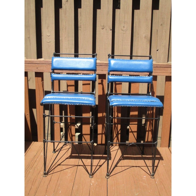 Illana Goor Leather Wrought Iron Bar Stools - Pair - Image 3 of 11