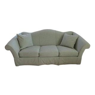 Custom Sky Blue Upholstered Rolled Arm Lee Sofa
