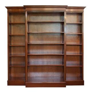 English Satinwood Inlaid Mahogany Triple Bookcase