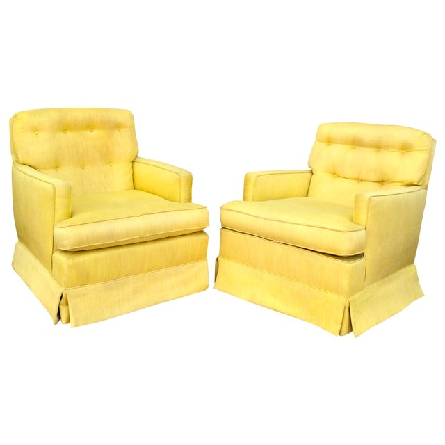 Image of 1960s Yellow Swivel Club Chairs