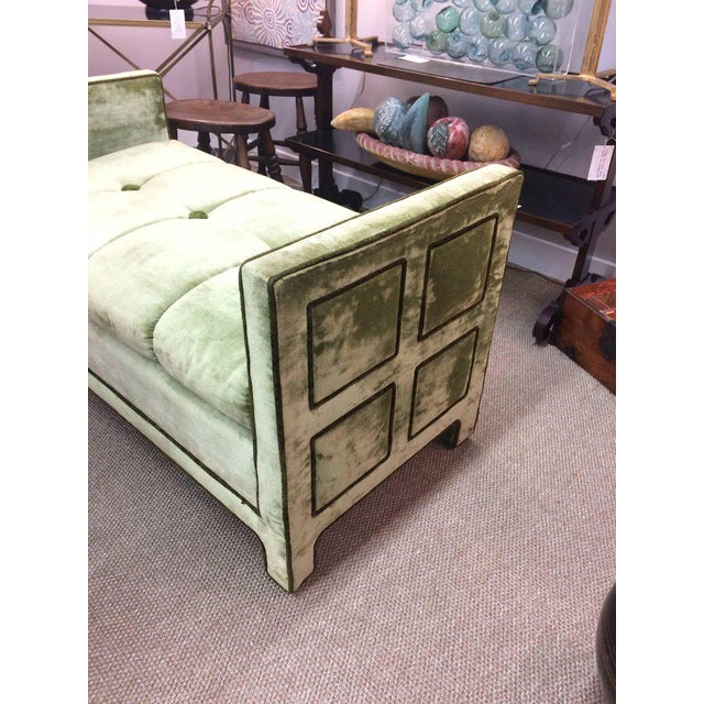 Light Green Velvet Settee Bench - Image 8 of 10