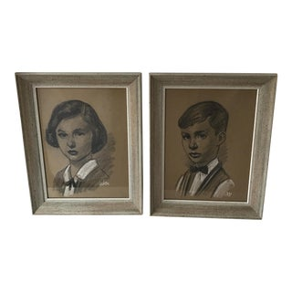 Framed Boy & Girl Charcoal Portraits - A Pair