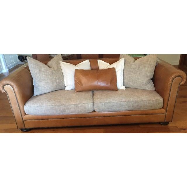 Ralph Lauren Leather & Linen Sofa - Image 2 of 5