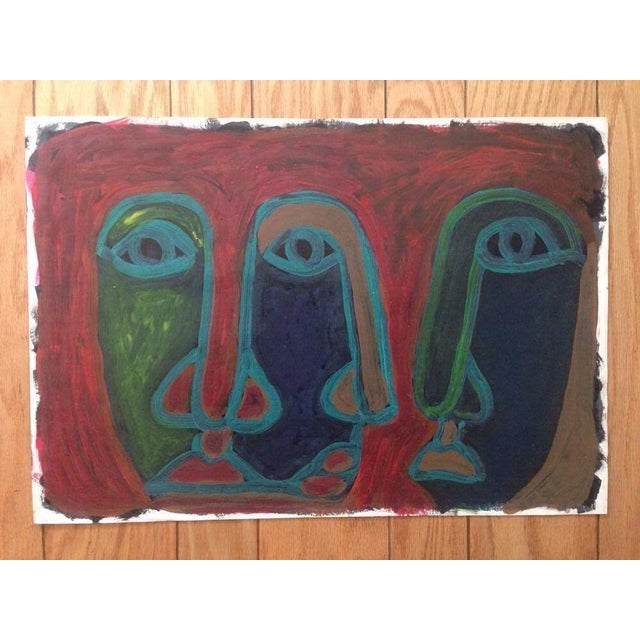 Mid-Century Abstract Three Face Portrait Painting - Image 2 of 5