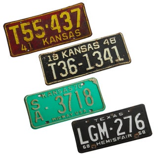 Vintage License Plates - Set of 4