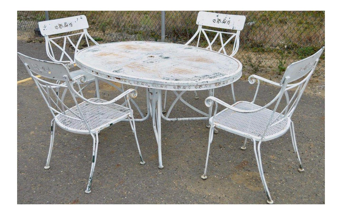 Vintage Hollywood Regency Wrought Iron Dining Set