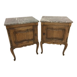 Antique Grey & Red Marble Top Hand Carved Oak Nightstands - a Pair