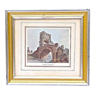 Antique Roman Bridge Ruins Engraving