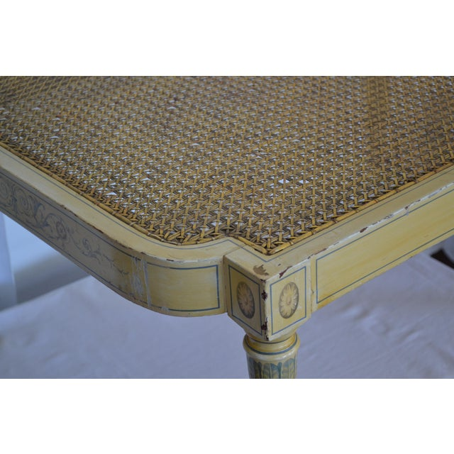 Antique Adams Painted Neoclassical Caned Chaise - Image 10 of 11