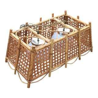 Vintage Cane Bamboo Pendant Chandelier