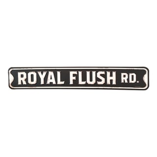 """Royal Flush Rd."" Metal Poker Sign"