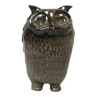 Bennington Potters Mid-Century Modern Stoneware Pottery Owl Figure Bank