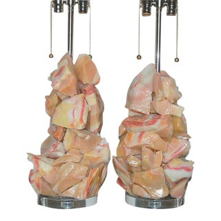 Rock Candy Glass Lamps in Peach Berry