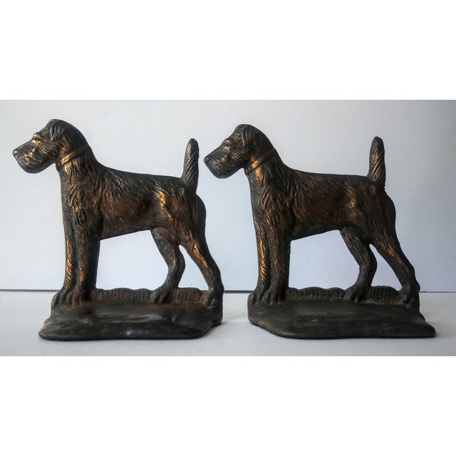 art deco fox airedale terrier dog bookends chairish. Black Bedroom Furniture Sets. Home Design Ideas