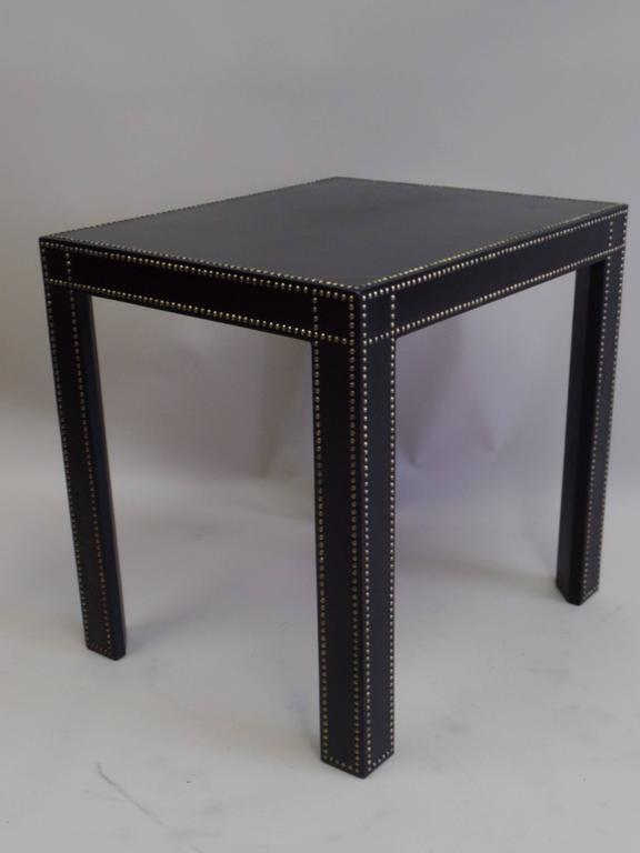 Pair Of Studded Black Leather End Tables By Pierre Lottier   Image 2 Of 8