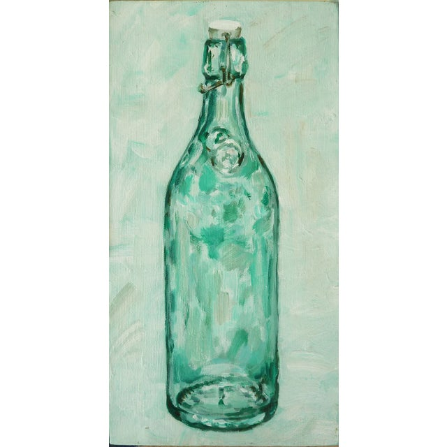 Image of Acrylic Painting of a Green Hinged Bottle