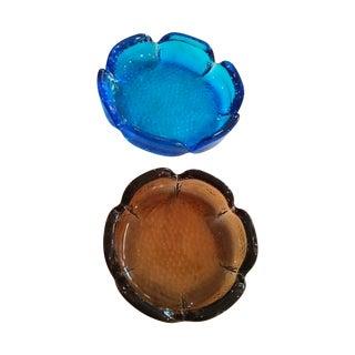 Mid-Century Modern Blue & Amber Trinket Catchers - A Pair