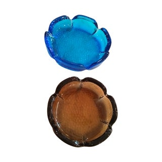 Mid-Century Modern Blue & Amber Trinket Catchers - A Pair