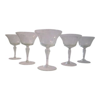 Mid-Century Etched Grape Cocktail Coupes - S/6
