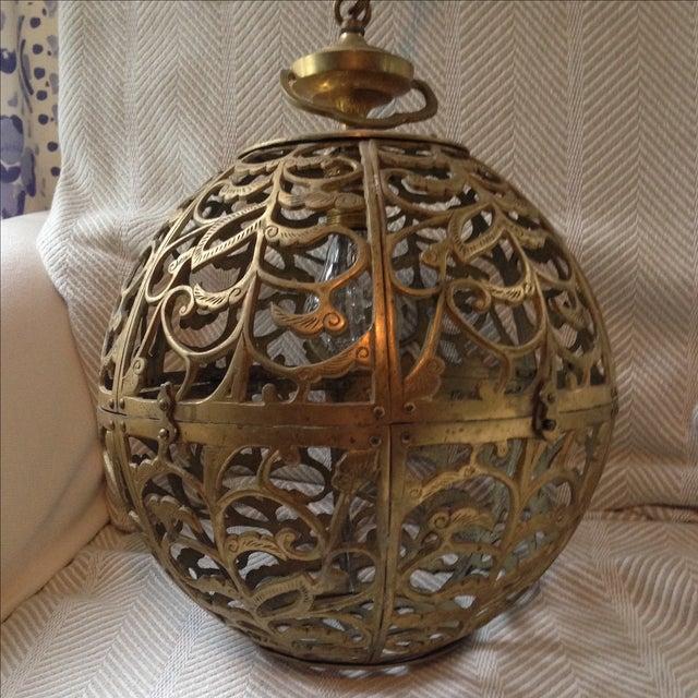Image of Pierced Brass Globe Lamp